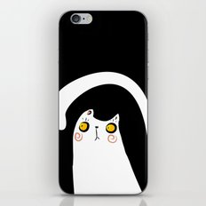 Dark Night White Cat iPhone & iPod Skin