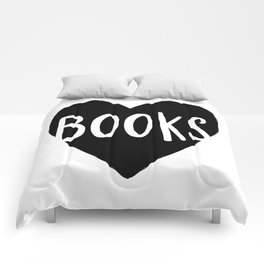 Heart Books - Hand lettered Book worm design  Comforters