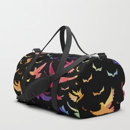 Colorful bird pattern black Duffle Bag
