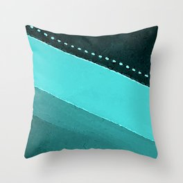 Blue and Black Stripes: Dotted Line Throw Pillow
