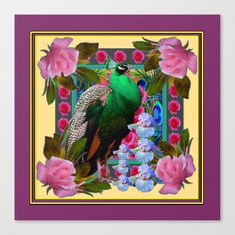 YELLOW-PUCE  PURPLE & PINK ROSES GREEN PEACOCK FLORAL Canvas Print