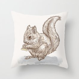 Pizza for All (Including Squirrels) Throw Pillow