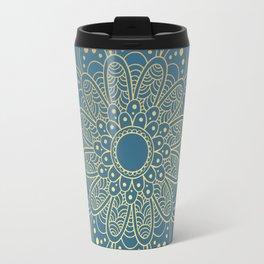 GOLDEN MANDALA ON BLUE Travel Mug
