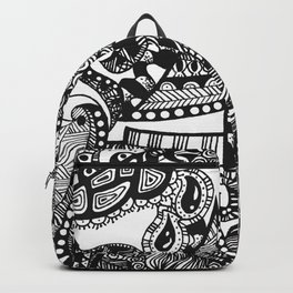 Sailboat Doodle on a Black and White Sea Backpack
