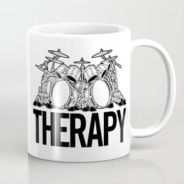 Drummers Therapy Drum Set Cartoon Illustration Coffee Mug