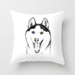 Smiling Husky Throw Pillow