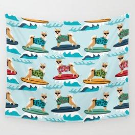 shiba inu surfing dog breed pattern Wall Tapestry