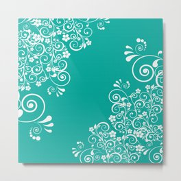White Floral Pattern On Turquoise Metal Print