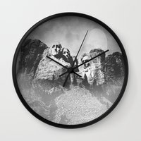 rushmore Wall Clocks featuring Rushmore at Night by Peaky40