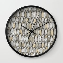 sketchy feather pattern in pale colors Wall Clock