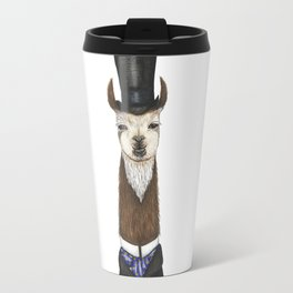 Llama gent in a top hat and duck cravat Travel Mug