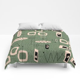 Mid-Century Atomic Green Abstract Comforters