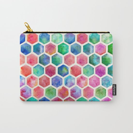 Hand Painted Watercolor Honeycomb Pattern Carry-All Pouch
