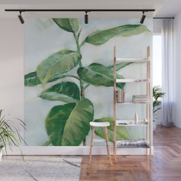 Houseplant Painting of Rubber Tree Wall Mural
