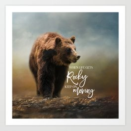 Grizzly On The Rocks Art Print