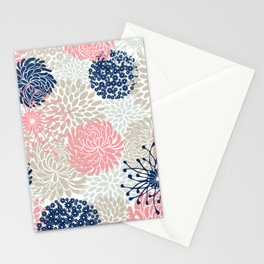 Floral Mixed Blooms, Blush Pink, Navy Blue, Gray, Beige Stationery Cards