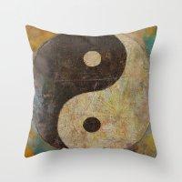 yin yang Throw Pillows featuring Yin Yang by Michael Creese