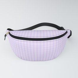 Chalky Pale Lilac Pastel Mini Gingham Check Plaid Fanny Pack