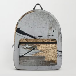 Still: an abstract mixed media piece in black, white, and gold by Alyssa Hamilton Art Backpack