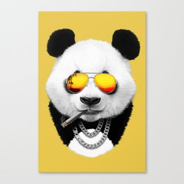 Summer Smoking Panda Canvas Print