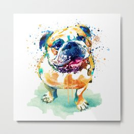 Watercolor Bulldog Metal Print