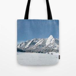 Snowy Flatirons Tote Bag