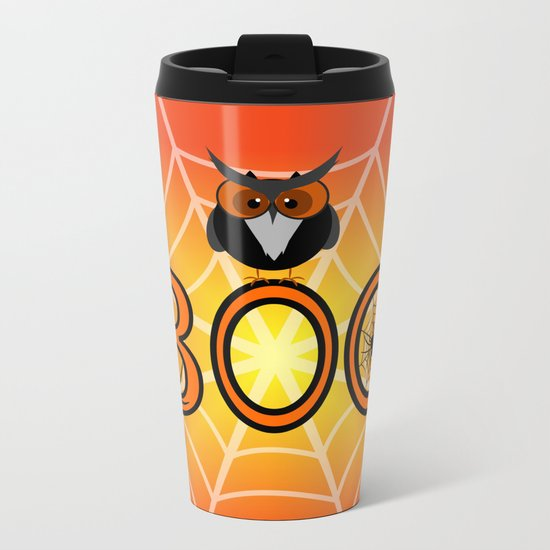 Boo, says the owl. It's Halloween! Metal Travel Mug