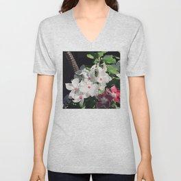 White Garden Flowers With Pink-Magenta Centers Unisex V-Neck