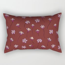 Dainty Wildflowers - Burgundy & Lilac Rectangular Pillow