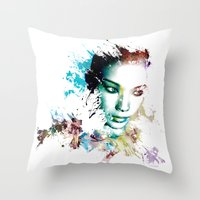 asia Throw Pillows featuring Asia by J. Ekstrom