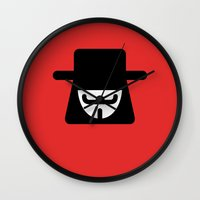 vendetta Wall Clocks featuring v vendetta by atipo
