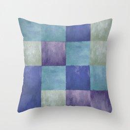 Blue Grey Tone Tiles Throw Pillow