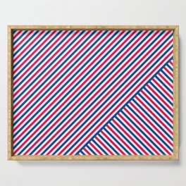 Red White and Blue Diagonal Stripes Serving Tray