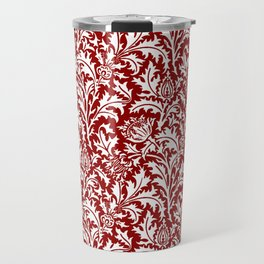 William Morris Thistle Damask, Dark Red and White Travel Mug