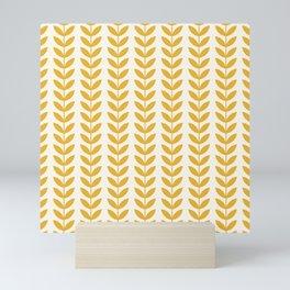 Scandinavian Mid Century Pattern Yellow Mini Art Print