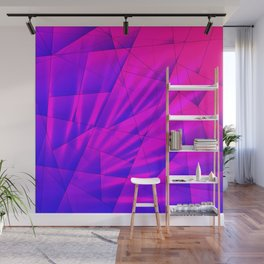Bright fragments of crystals on irregularly shaped blue and violet triangles. Wall Mural