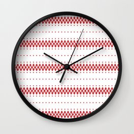 Red and white ethnic boho pattern Wall Clock