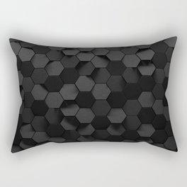 Black abstract hexagon pattern Rectangular Pillow