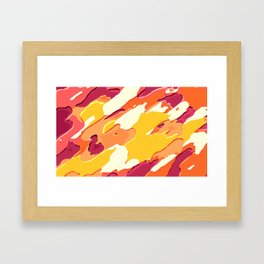 red pink yellow and orange camouflage graffiti painting background Framed Art Print