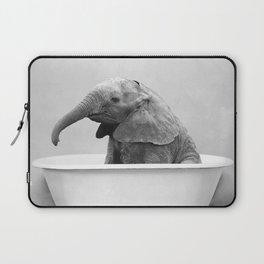 Baby Elephant in a Vintage Bathtub (bw) Laptop Sleeve