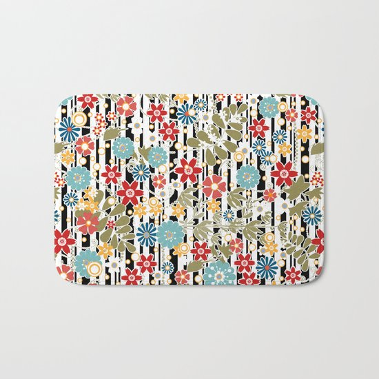 Floral pattern on striped background Bath Mat