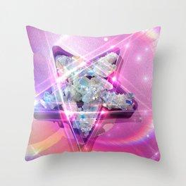 Crystal Star, Angel Aura Pentacle Throw Pillow
