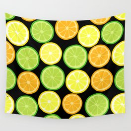 Citrus Slices on Black Wall Tapestry
