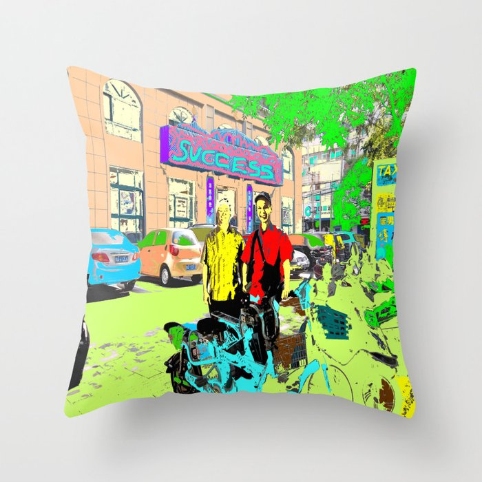 2 cyclists Throw Pillow