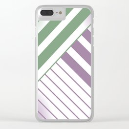 Green and Violet Stripes Clear iPhone Case
