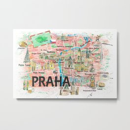 Prague Czech Republic Illustrated Map with Landmarks and Highlights Metal Print