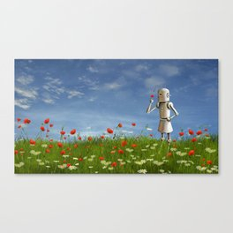 Robot in field of wildflowers Canvas Print