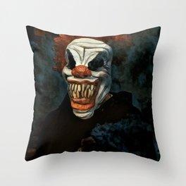 Scary Clown Blue Smoke Throw Pillow