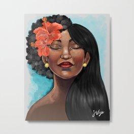 Hibiscus Versatile Afro Metal Print