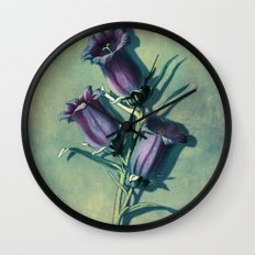 Floral Vintage Inspired Art With Purple Flowers Wall Clock
